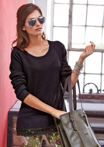 Kp 49,99 € SALE/%/%/% NUOVO!! Aniston NERO Finemente lavorato a maglia-Pullover con pizzo