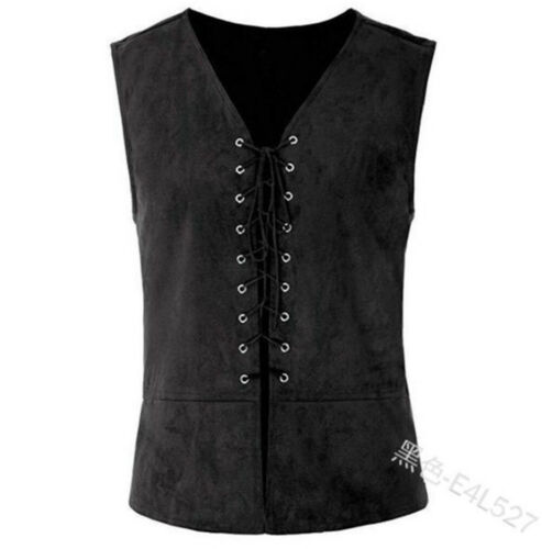 Vintage Mens Vest Lace-Up Tops Medieval Waistcost