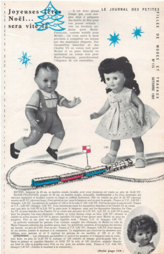 ▬►Page POUPÉE FRANÇOISE MICHEL Modes et Travaux  avec Mini Patron FEVRIER 1963
