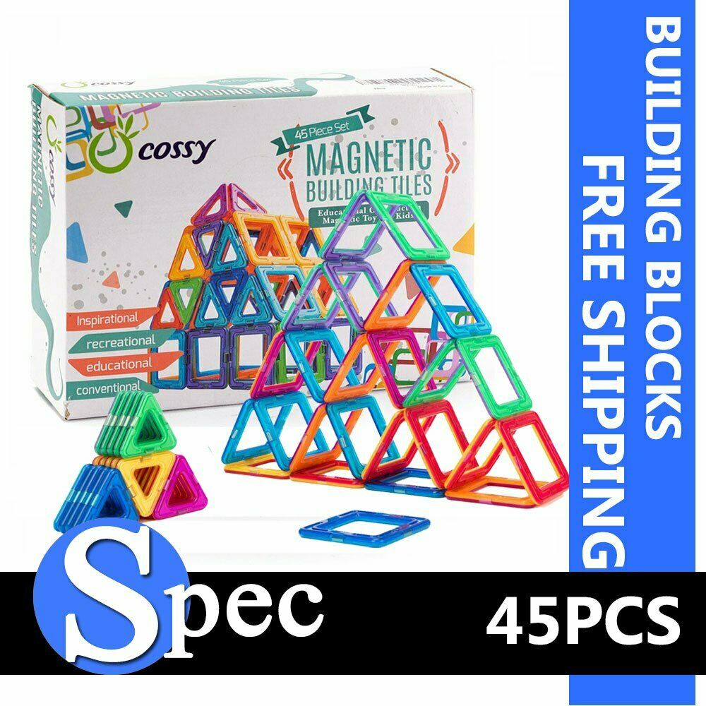 Cossy 45 PCS Magnetic Tiles 3D Magnetic Blocks Building Sets Educational Toys