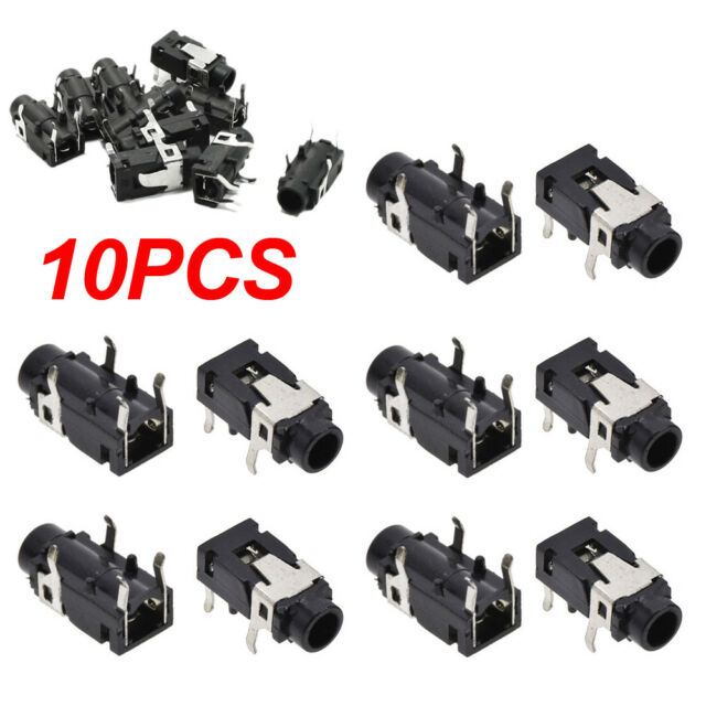 "10PCS 1//8/"" 3.5mm Stereo Socket Jack Headphones With nut PCB Panel Mount Chassis"