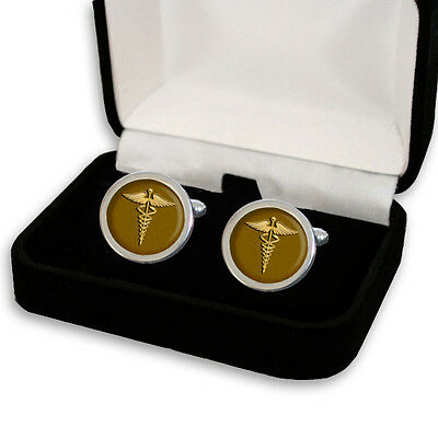 DOCTOR CADUCEUS MEDICAL SYMBOL MEN'S CUFFLINKS / TIE SLIDE SET GIFT