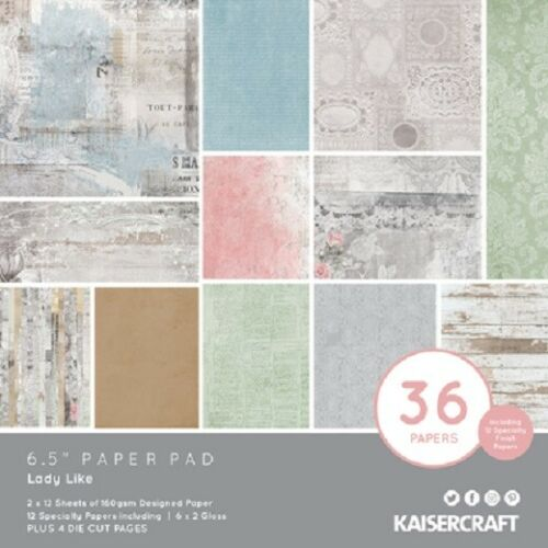 "Kaisercraft /'LADY LIKE/' 6.5/"" Paper Pad Floral//Shabby Chic//Flowers KAISER"