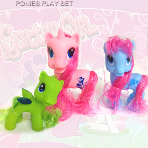 Pony Playset Childrens Girls Rarity Glitter Ponies Figure Saloon Set