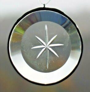 Bleiverglasung Fensterbild Suncatcher Facetten- Kreis mit Gravur in Tiffany