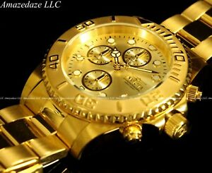 NEW-Invicta-Mens-18K-Gold-Plated-Stainless-Steel-Golden-Dial-Chronograph-Watch