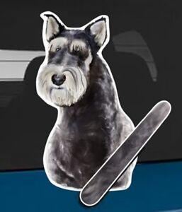 Miniature Schnauzer Rear Car Window Sticker With Wagging Tail To Fit Wiper Arm
