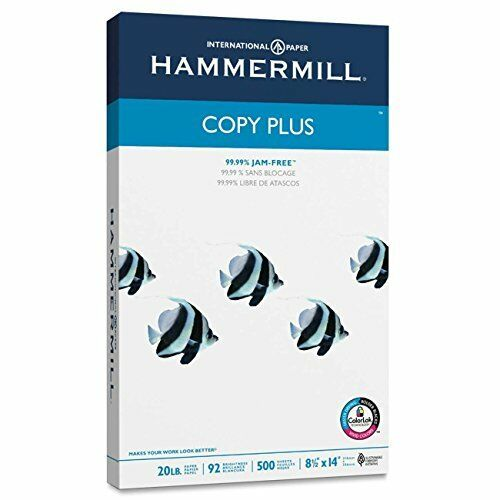 Hammermill Ecwias Paper, Copy Plus, 20lb, 92 Bright, 8.5 x 14, Legal, 500 Sheets