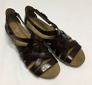 fc7a75017d0 Details about Dansko Vivian Vintage Pull Up Ruby Leather Gladiator Wedge  Sandal Sz 36 38 39 40