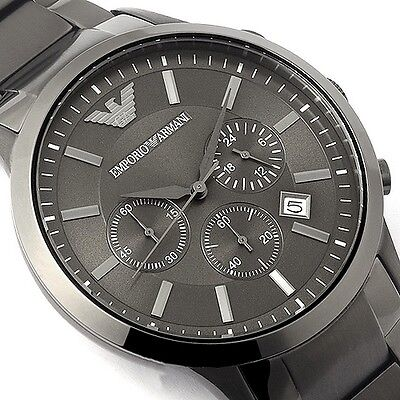 EMPORIO ARMANI MEN'S CHRONO WATCH AR2454 GRAY  -  BRAND NEW WITH CERTIFICATE