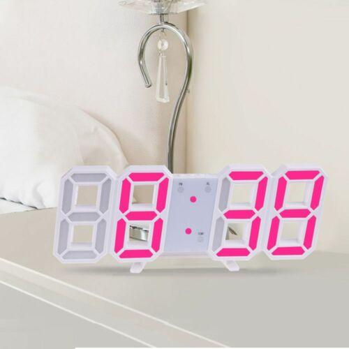 Dimmable Brightness Table LED Digital 3D Wall Clock Nightlight Alarm Clocks