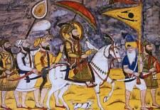 Cinque Sikh e GURU gobind Singh marcia a cavallo 7x5 pollici stampa