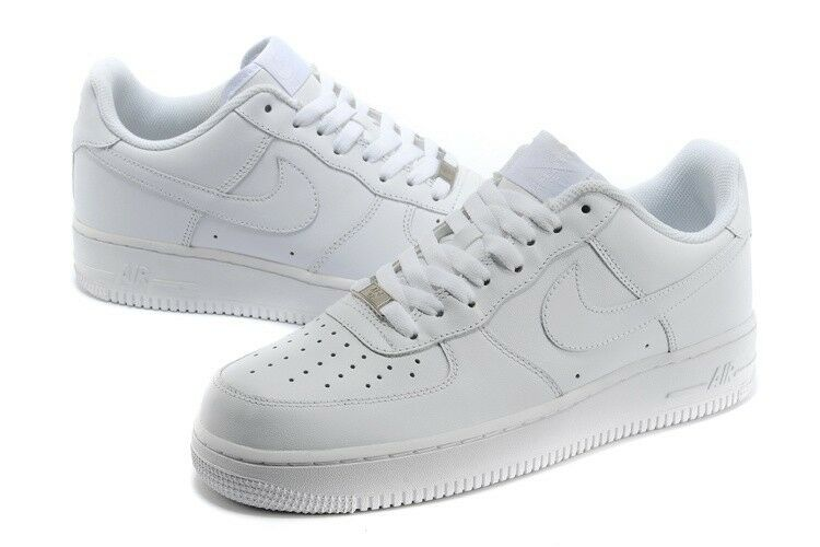 315122-111 Nike Air Force 1 One 07' Mens Low Leather Sneakers shoes All White DS