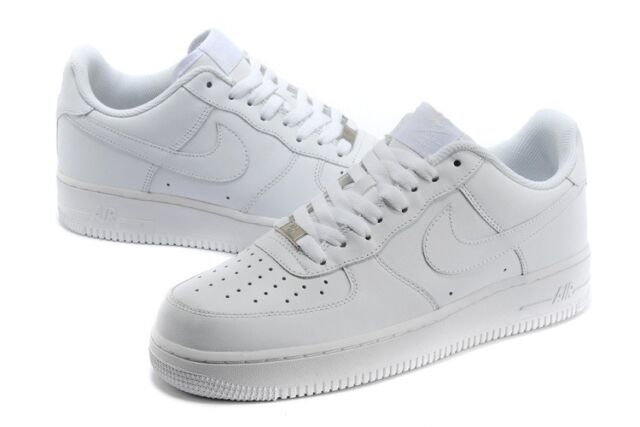 315122 111 Nike Air Force 1 One 07' Mens Low Leather Sneakers Shoes All White DS