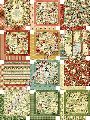 Graphic 45 Twelve Days of Christmas Collection Scrapbook Paper 12x12 December