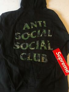 Details about Anti Social Social Club Woody blk hoodie Camo 100% Authentic Rare supreme