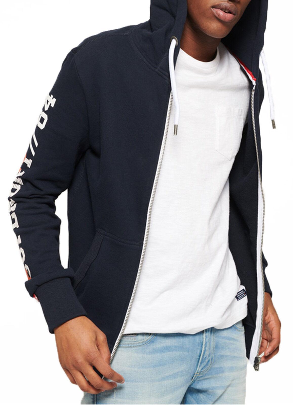 Superdry Orange Label Zip Up Hoodie  Herren Sweatshirt Hood Sweat Top Pitch Navy