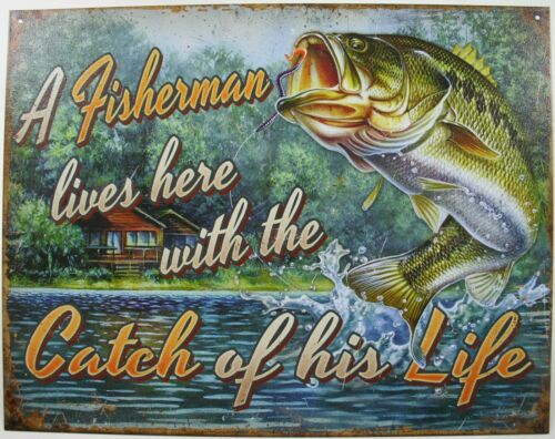 A Fisherman lives here with catch Tin Metal Sign Bass Fish Lure Rod lodge 2235