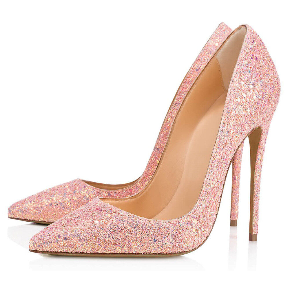 Womens Pointy Toe Pumps Slip on Wedding Party Sequins Stilettos High Heel shoes