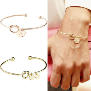 Women-Heart-Monogram-With-26-Letters-Bracelet-Bridesmaid-Bangle-Fashion-Jewelry