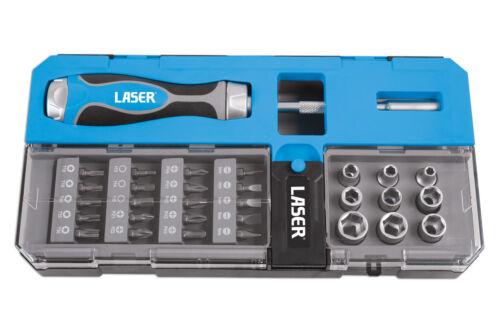 Laser 33 Piece Ratchet Screwdriver Set with Bits /& Sockets in a smart case