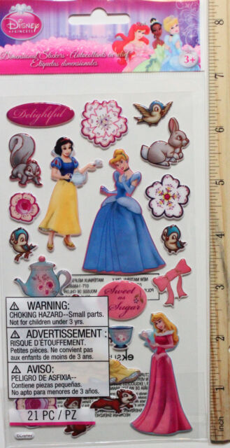 NEW -  DISNEYS ~ Princess Sweet As Sugar Puffy Stickers ~ FREE SHIPPING