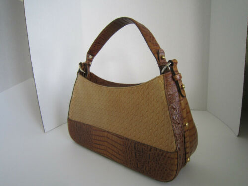 Croc Embosed Brown Brahmin Shoulder Leather and Bag Hobo Woven nOPX08kNw