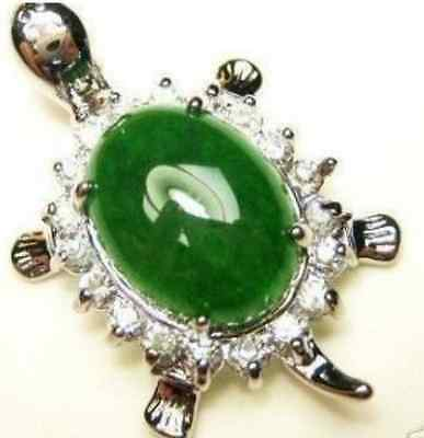 Natural 12x14mm Green Jade Oval Bead inlay Turtle Pendant(20x35mm)Necklace