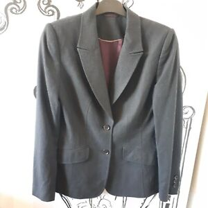 Womens Austin Reed Size 10 Dark Charcoal Grey 96 Wool Smart Suit Jacket Blazer Ebay