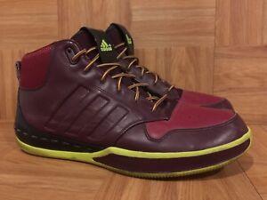 RARE? Adidas Lux Mid Burgundy Volt Leather Basketball Shoes Sz 12 Men's Sick!