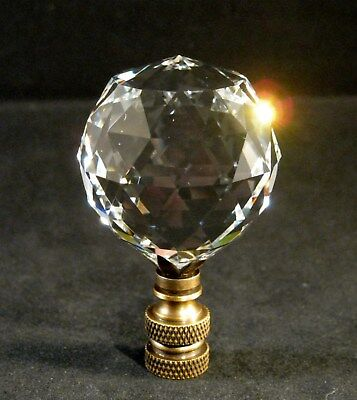 Lamp Finial-STUNNING LEADED CRYSTAL LAMP FINIAL**ANTIQUE BRASS BASE**