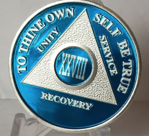 Blue Silver Plated 28 Year AA Chip Alcoholics Anonymous Medallion Coin