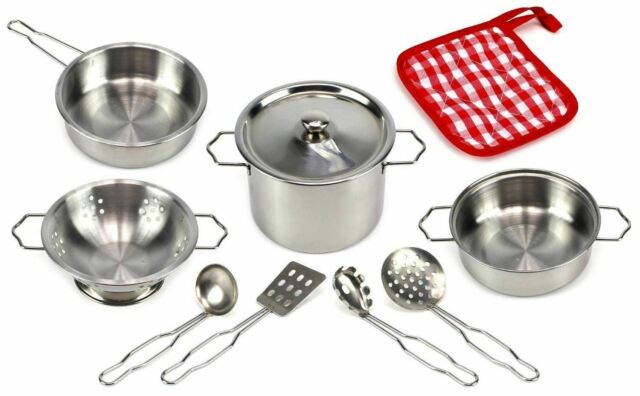 Kids Children Toys Stainless Steel Pots Pan Imaginary Play Set 10 Pieces