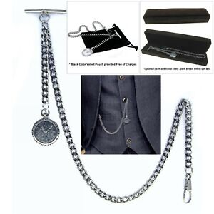 Albert-Chain-Pocket-Watch-Curb-Link-Chain-Antique-Silver-Plating-Fob-T-Bar-AC36