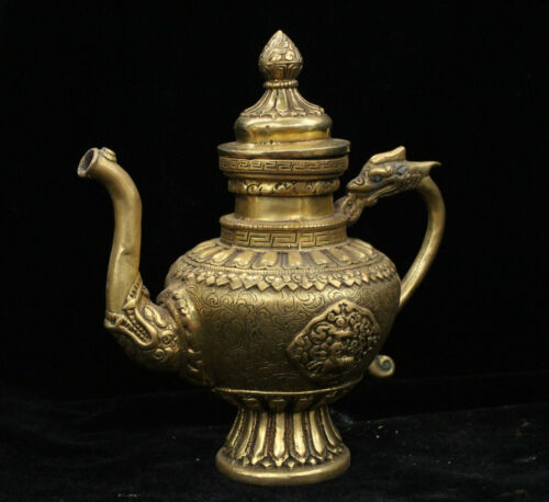 Chinese Dynasty palace Bronze Brass Dragon Beast Wine Tea Pot Flagon Statue
