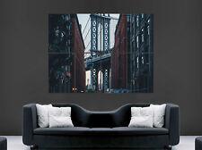 NEW YORK CITY POSTER BROOKLYN BRIDGE EMPIRE STATE BUILDING MANHATTAN USA  PRINT