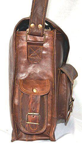 documents en Laptop vintage à de portableGoat 18 cuir de Briefcase pour messieurs ordinateur Leather Shoulder Office Satchel Porte Vintage Messenger po pour rabat chèvre Men d'épaule LVqpMSzjUG