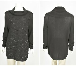 Womens-Marina-Rinaldi-Italy-Tunic-Jumper-Black-Cotton-Blend-Sequined-Size-M