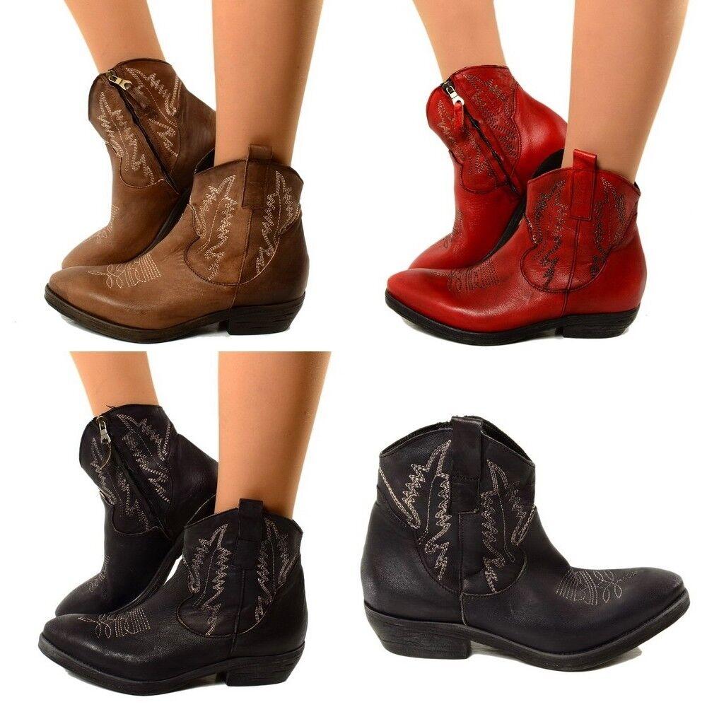Señora botas botas de vaquero Western botas Señora cuero genuino botines made in italy texric 9215b6