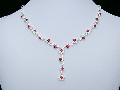 Red Bridal Wedding Prom Rhinestone Crystal Jewelry Necklace Earrings Set N170