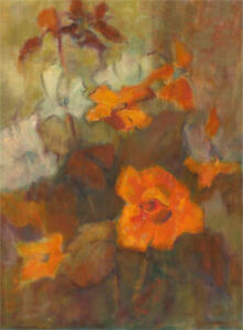Barbara Doyle (b.1917) - Contemporary Oil, Begonias
