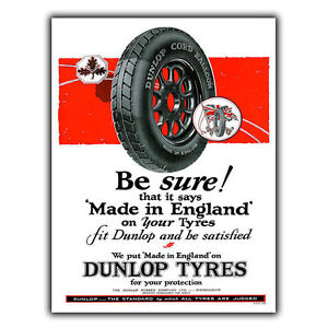 DUNLOP TYRES METAL SIGN WALL PLAQUE Vintage Retro Advert print - London, United Kingdom - Returns accepted - London, United Kingdom
