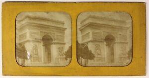 Parigi Arco Di Triomphe Foto Stereo PL54L4n Diorama Vintage Albumina c1870