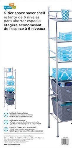 """12.6 x 11.02 x 59.84/"""", Honey-Can-Do BTH-03484 6 Tier Metal Tower Bathroom Shelf"""