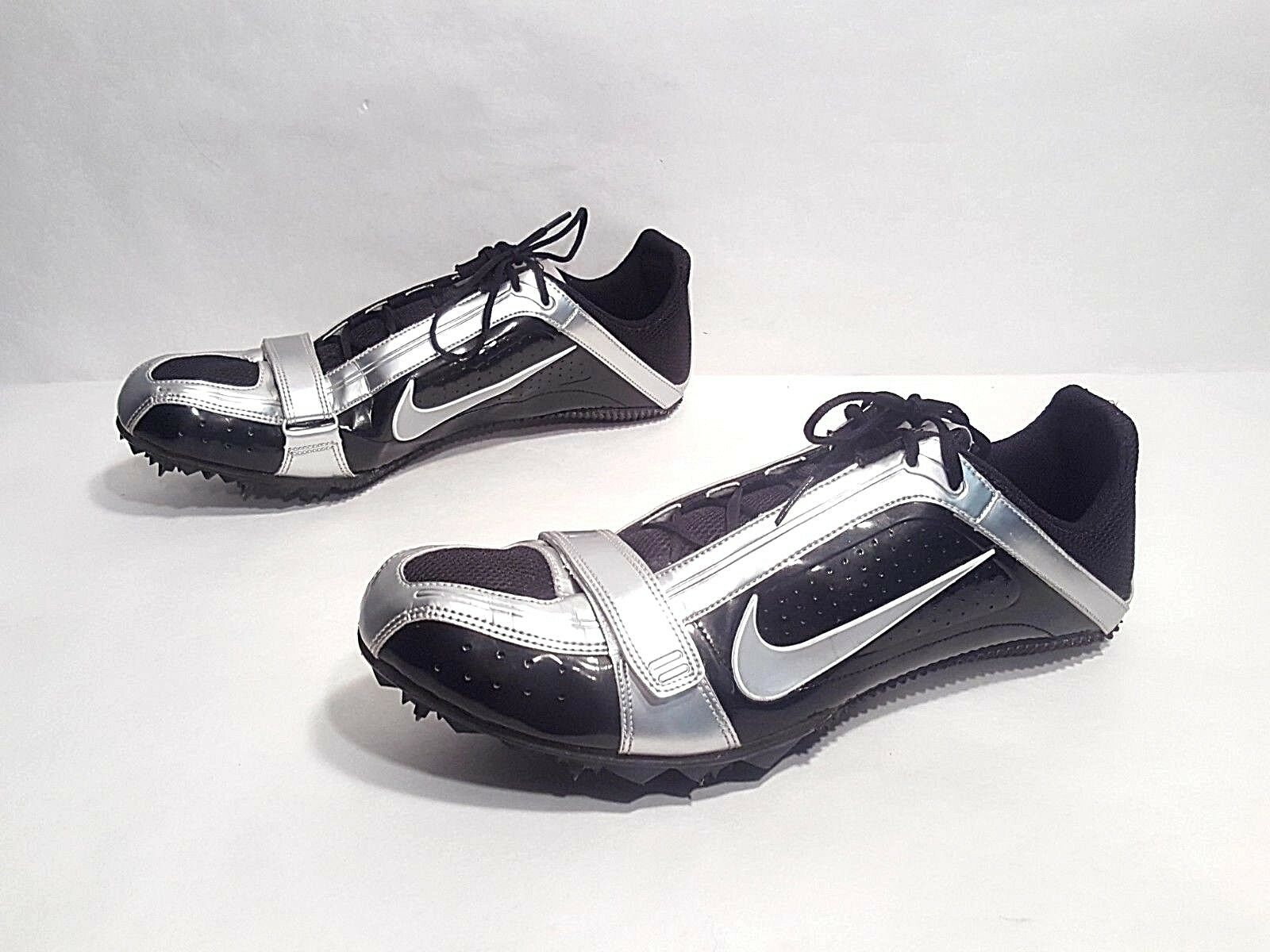 EUC Nike Bowerman Zoom Rival S Sprinter Spikes Track shoes Black Silver Size 12