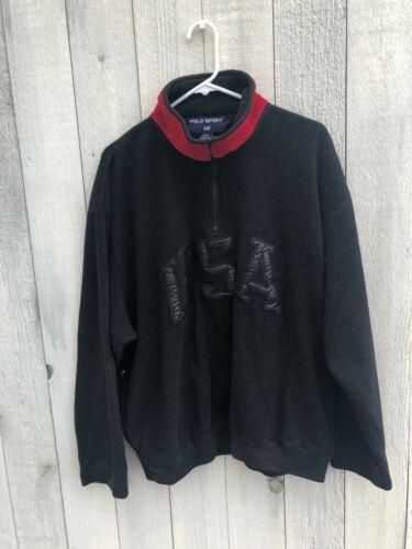 Vintage 90s black Polo Sport Ralph Lauren USA flee
