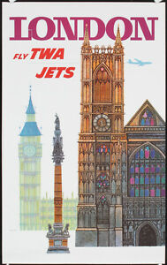 Original-1960s-TWA-Travel-Poster-DAVID-KLEIN-LONDON-Lot-404