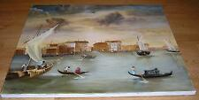 REALISM SAIL BOATS NAUTICAL OCEAN VENICE ITALY VENETIAN CANAL VILLAGE PAINTING