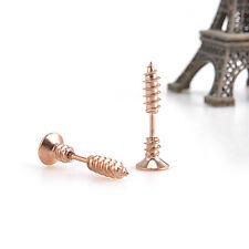 1 Pair Women Men Gold Chic Punk Stainless Steel Screw Ear Studs Earrings NX132