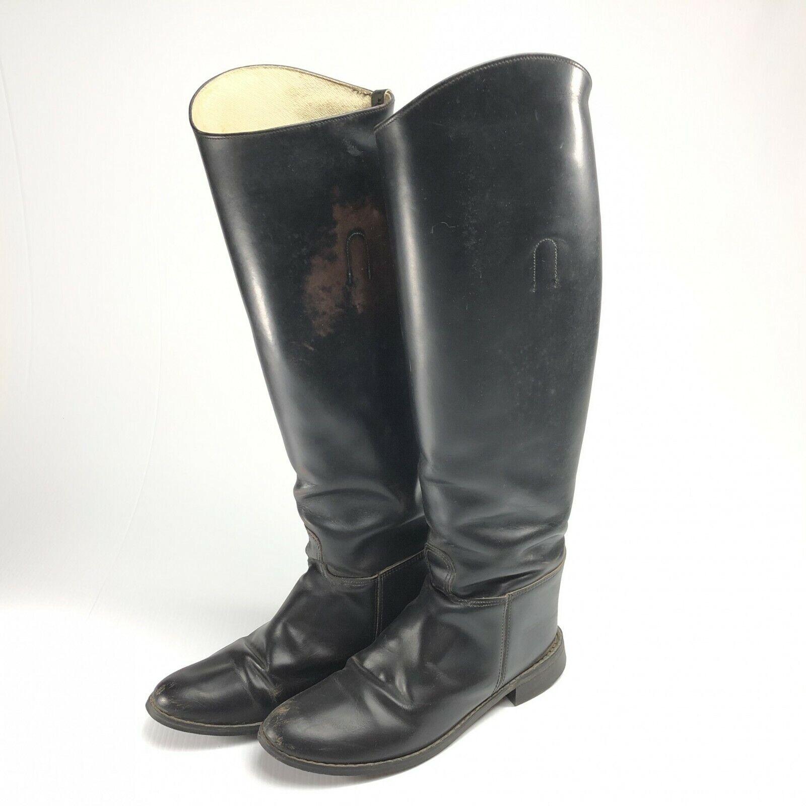 Vintage schwarz leather riding Stiefel made in USA Größe 9